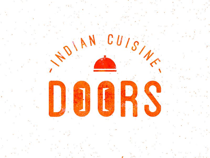 Doors doors indian restaurant cuisine logo vector illustrator tray door food orange texture typographic