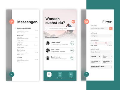 Hire Photographer App flat icon 2d sketch filter rating chat photography freelancer flatdesign app design app ux