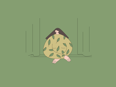 By the window illustration vector view window girl