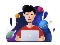 Simulated Universe product designer working space univerese satwik pachino ipadart textures flatdesign graphicdesign uiux ui procreate art ipadpro illustration art illustraion