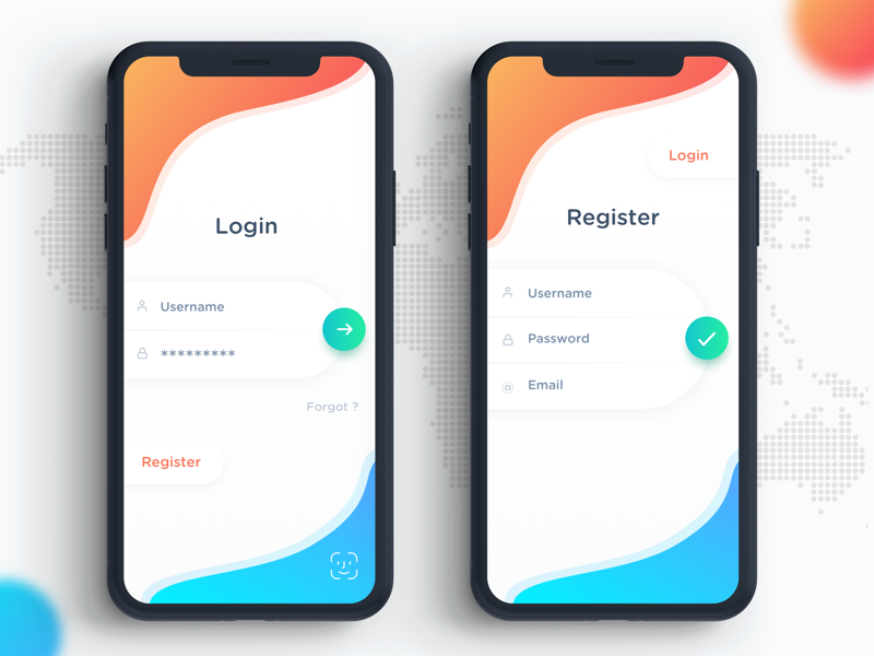 Minimal Login & Register Screen by Satwik Pachino on Dribbble