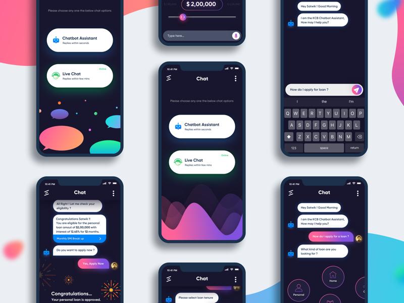 Chatbot - Banking App ui ux colorful dark app mobile banking chatbot