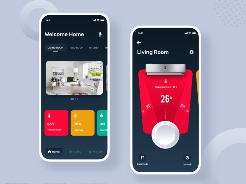 Smart Home App satwik pachineela interaction design temperature mobile app smart artificialintelligence ux mobile ui mobile dashboard ui smart mobile smarthome iot