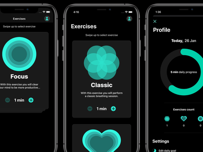 Becalm - Breathing app (UI Design) flat flatdesign breathing app ui uidesign ui iphone app designer health health app breathing breathing app app ui design app design application app ui app