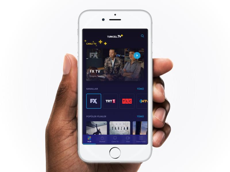turkcell tv+ hub design ui interface user app shows movie tv