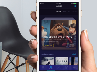 Turkcell TV+ ui design interface iphone ios movie tv show app