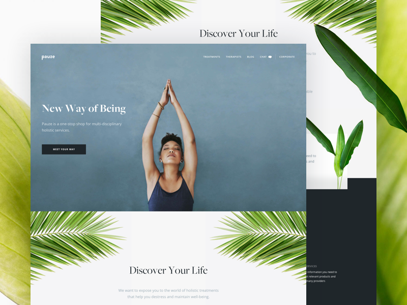 Pauze - Homepage health web design interface ui