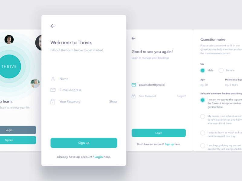 Onboarding application mobile design interface ui app ios thrive