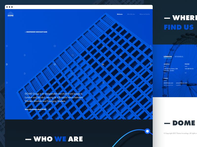 DOME One Page web design dark web design ui interface