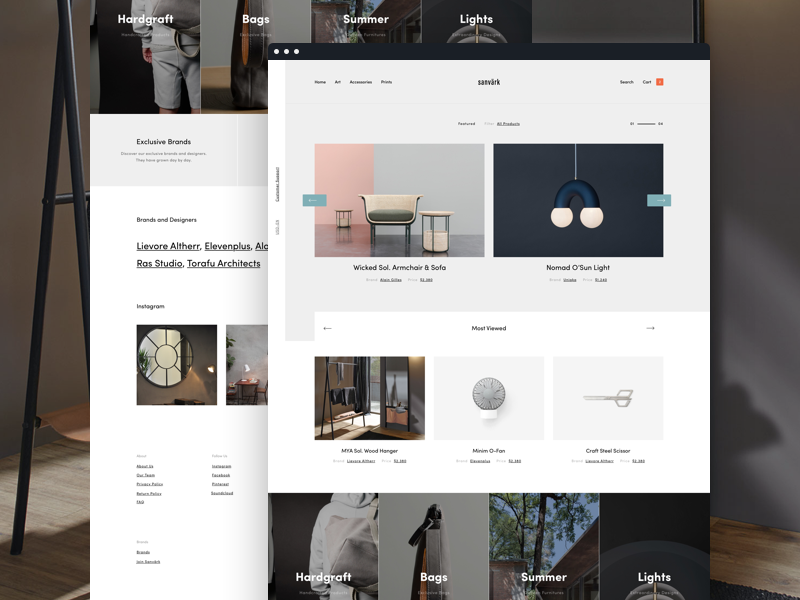 Sanvark Homepage simple webdesign landing commerce web user interface ui design furniture