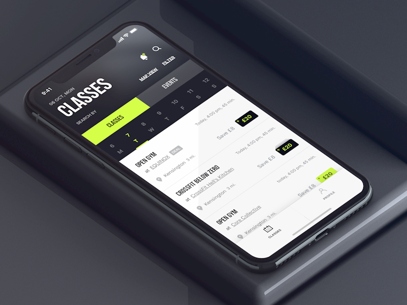 Classes design ux ui interface application events classes fitness app iphone x iphone