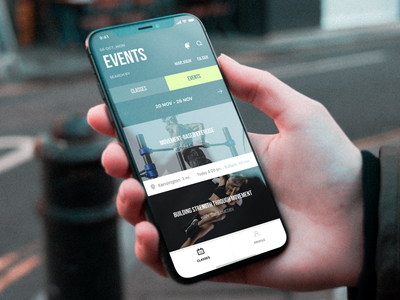 Events design ux ui interface application events classes fitness app iphone x iphone
