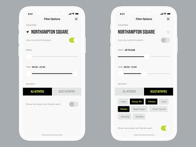 Filter Options design interface ui filter sport application app ios