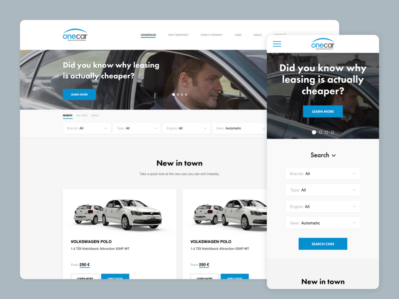 Onecar Homepage responsive design ui interface user web
