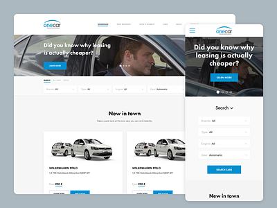 Onecar Homepage responsive design ui interface user web