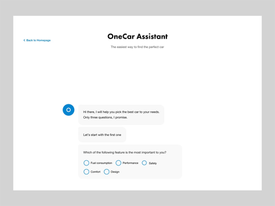 Onecar Chatbot chat design ui interface user web