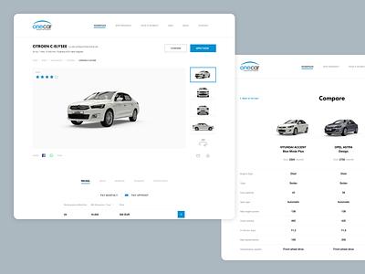 Onecar Vehicle Detail design ui interface user web