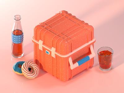 Lunchbox. 2/3 case bottle lunch box colorful octane 3d
