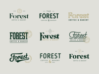 Forest Coffee & Bakery Type Explorations typography stamp monogram visual identity cafe logotype logo mark lettering logo brand identity coffee branding brand