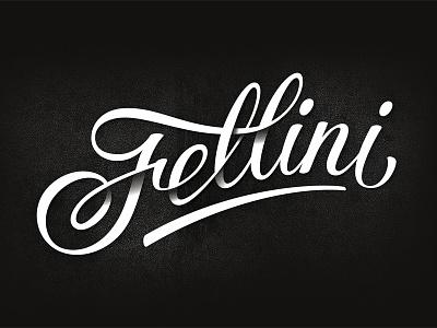 Fellini cafe logo lettering logotype typography design black fellini cafe coffee calligraphy