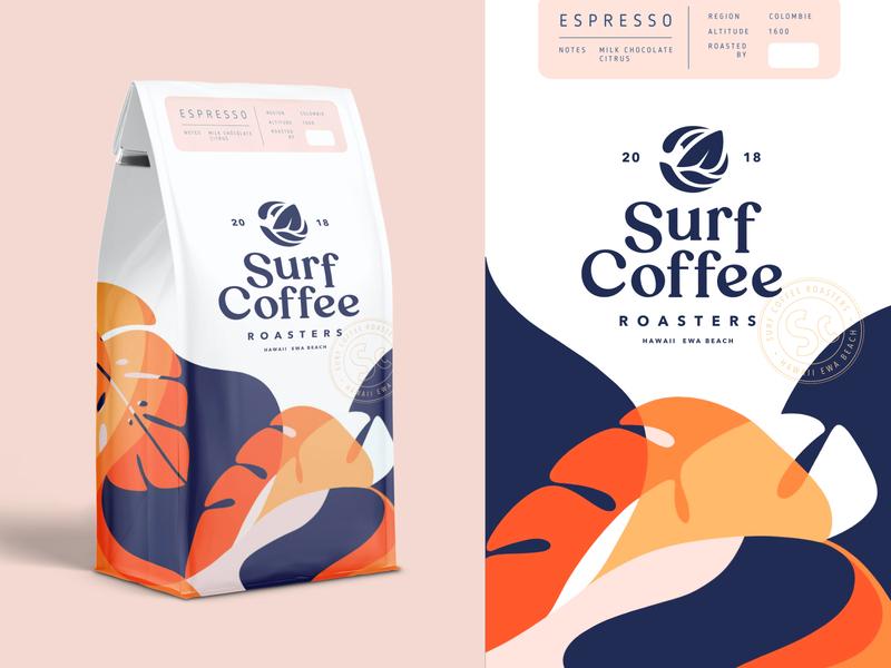 Packaging Design For Surf Coffee Co. Part 4 type logotype coffee bag identity package packaging design packaging logomark logo lettering illustration coffee brand identity branding brand