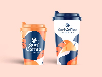 Packaging Design For Serf Coffee Co. Part 5 type packaging design packaging package logotype coffee brand logomark logo lettering coffee shop coffee cup branding brand identity brand