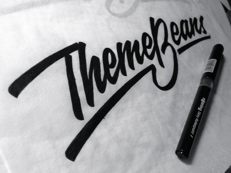 ThemeBeans identity typography brush pen branding lettering logo calligraphy hand-writing brand logotype