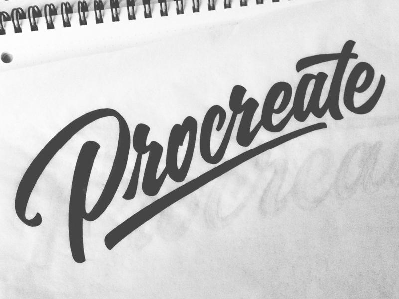 Procreate Sketch pen brand logo lettering typography hand-writing logotype theme design