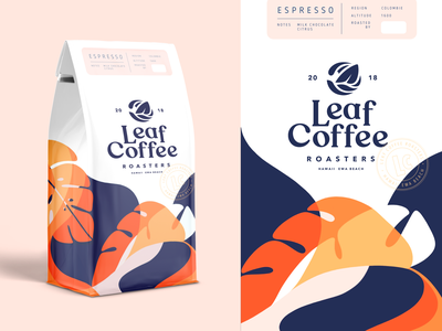 Leaf Coffee Co. Packaging Part 3 type logo brand identity illustration coffee label label coffeeshop packaging logodesign branding
