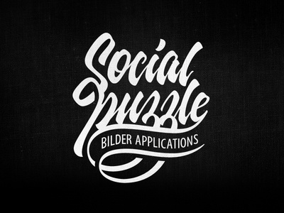 Social puzzle lettering logo hand-writing brand logotype social puzzle tutov calligraphy