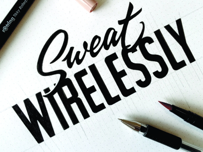 Sweat Wirelessly lettering logo calligraphy hand-writing logotype t-shirts