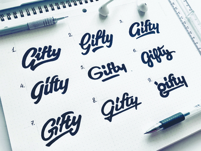 Gifty sketch process calligraphy identity logotype type логотип typography brand hand-writing logo lettering