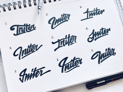Initer Guitars ogo typography process sketch type logotype hand-written calligraphy brand lettering logo