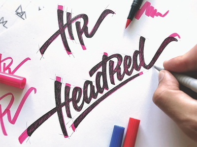 HeadRed (rough sketch) логотип typography process mark type logotype hand-written calligraphy branding brand lettering logo