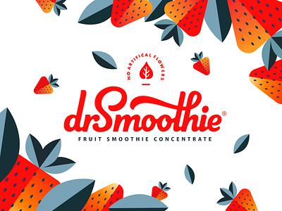 Branding for dr.Smoothie smoothie wordmark logo mark logo illustration branding identity lettering logotype hand-writing typography brand