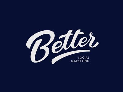 Better logo lettering better dark-blue calligraphy design typography blue brand