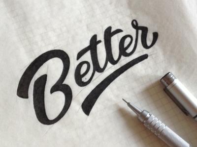 Better sketch letters hand drawn logo pencil typography black better multiliner sketch lettering