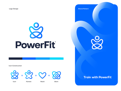 PowerFit - Branding gradient color fitness app brand identity vector mark logo identity icon branding