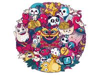 Doodle illustration for Dback logo design design character panda china japanese art food cats monsters dragon asian illustration illustrator shirtdesign doodleart doodles doodle