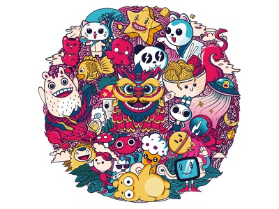 Doodle illustration for Dback logo design design character panda china japanese art food cats monsters dragon asian illustration illustrator shirtdesign doodleart doodles doodle