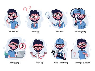 Web charakter, icons for web it engineers engineer web icons icon webdesign procreate art design character procreate illustration illustrations