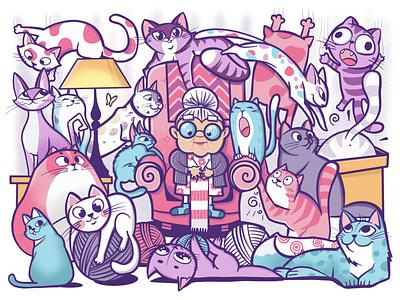 Cats illustration for puzzle doodles doodle grandma pets cats cat design art character procreate illustrations illustration