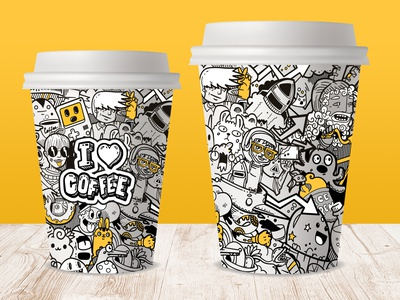 Doodle illustration for coffee cups cartoon procreate art doodleart character illustrations procreate illustration coffeeshop monsters monster coffee cup coffee doodles doodle