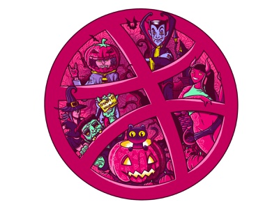 Hallo Dribbble doodle illustration logo cartoon monster halloween hello dribble dribbble character doodleart doodle doodles illustrations procreate illustration