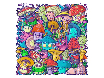 Mushrooms doodle illustration cartoon monster procreate art character doodleart doodles doodle procreate illustrations illustration mushrooms