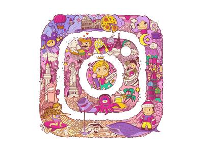 instagram doodle logotype