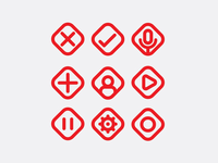 Minimal Icon Set - Red Variant