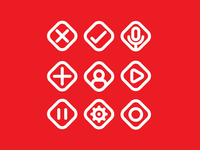 Minimal Icon Set - Red Variant Version 2