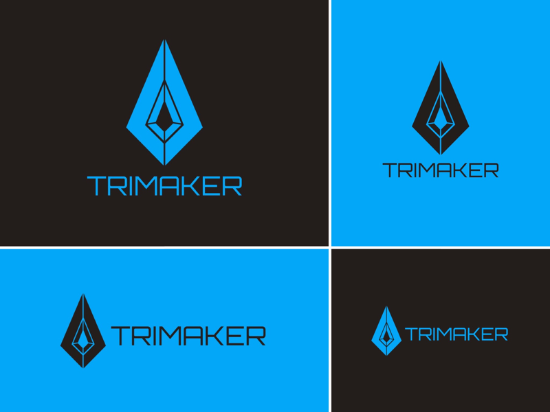 Trimaker - Blue Versions (redesign) delta tri branding brand logotype geometric pointer spearhead arrow arrowhead spear graphic design logo