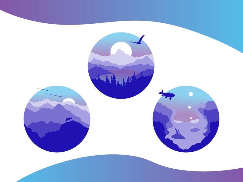 Land, Air, Water Monochromatic Illustrations animals monochromatic nature illustration mountains air ocean wildlife art nature ui vector illustration design graphicdesign